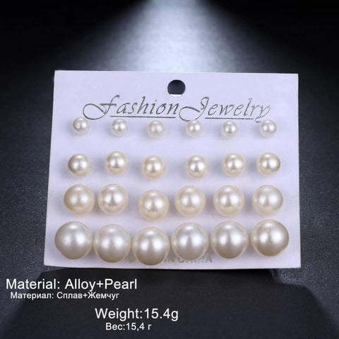 Image of 12Pairs/set Pearl Earrings - Custom Made | Free Shipping