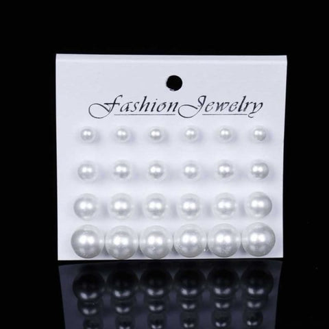 Image of 12Pairs/set Pearl Earrings - White - Custom Made | Free Shipping
