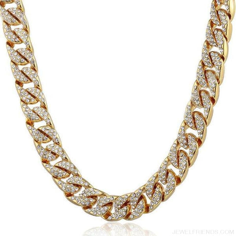 Image of 14Mm Miami Curb Cuban Chain Iced Out Hip Hop Necklace - Gold / China / 24Inch 60Cm - Custom Made | Free Shipping