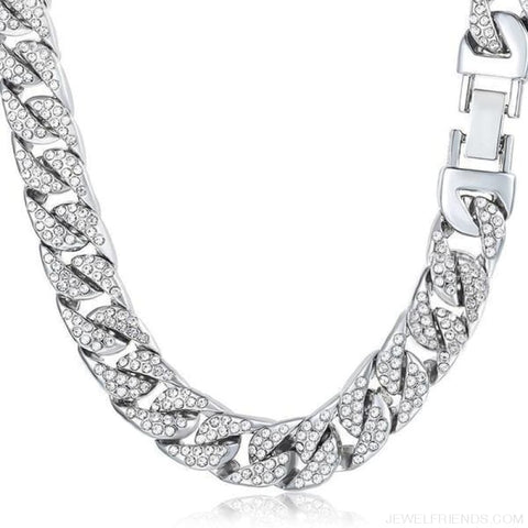 Image of 14Mm Miami Curb Cuban Chain Iced Out Hip Hop Necklace - Silver / China / 24Inch 60Cm - Custom Made | Free Shipping