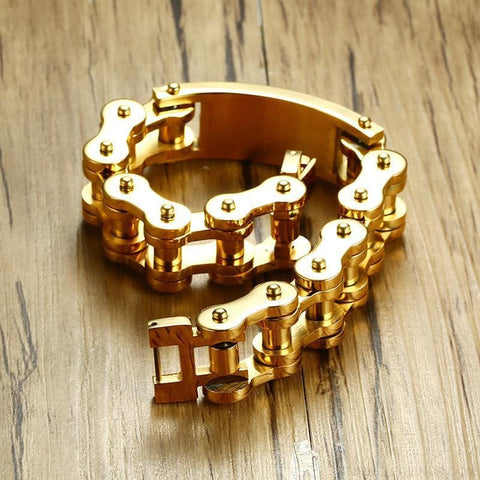 17.5Mm Bible Cross Bike Chain Gold Tone Bracelet - Custom Made | Free Shipping