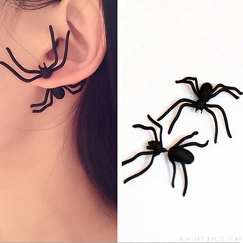 1Pc Punk Black Spider Stud Earring - Custom Made | Free Shipping