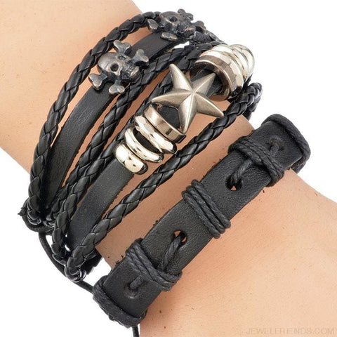 1Set/5-6Pcs Punk Rock Skull Star Multi Charm Bracelet - Custom Made | Free Shipping