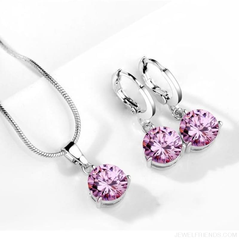 21 Colors Jewelry Sets Round Cubic Zircon Hypoallergenic Copper - 14 - Custom Made | Free Shipping