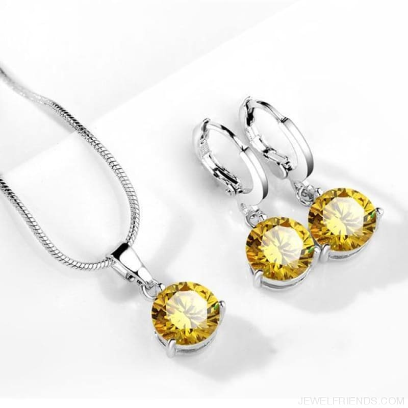 21 Colors Jewelry Sets Round Cubic Zircon Hypoallergenic Copper - 16 - Custom Made | Free Shipping