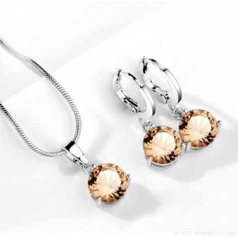 Image of 21 Colors Jewelry Sets Round Cubic Zircon Hypoallergenic Copper - 17 - Custom Made | Free Shipping