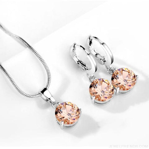 Image of 21 Colors Jewelry Sets Round Cubic Zircon Hypoallergenic Copper - 18 - Custom Made | Free Shipping