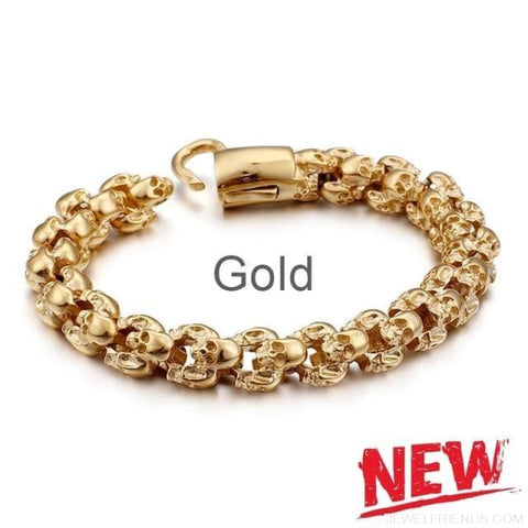 22.5Cm Long Full Skull Link Chain Bracelets - Gold / 18.5Cm - Custom Made | Free Shipping