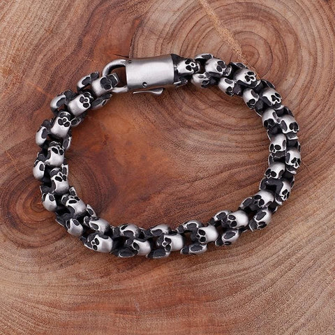 22.5Cm Long Full Skull Link Chain Bracelets - Custom Made | Free Shipping