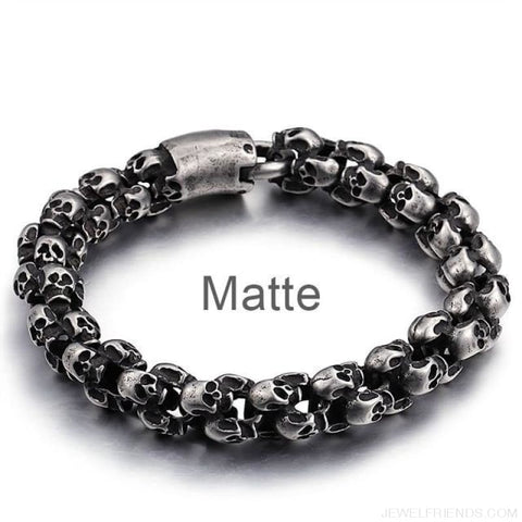 22.5Cm Long Full Skull Link Chain Bracelets - Matte / 18.5Cm - Custom Made | Free Shipping
