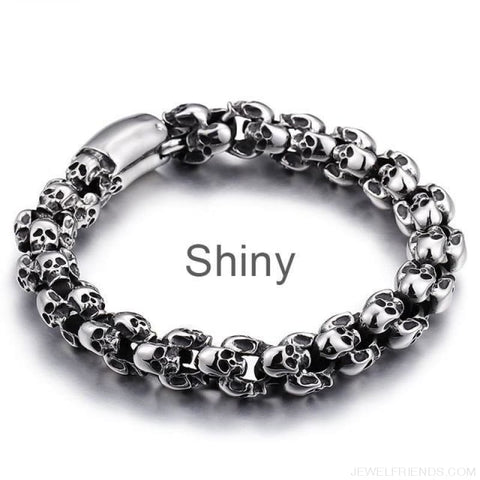 22.5Cm Long Full Skull Link Chain Bracelets - Shiny / 18.5Cm - Custom Made | Free Shipping