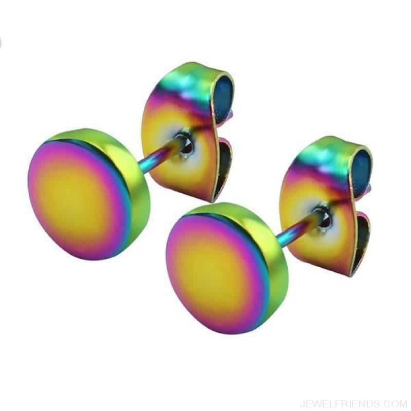 3-14Mm Round Stainless Steel Ear Studs - Rainbow / 10Mm - Custom Made | Free Shipping