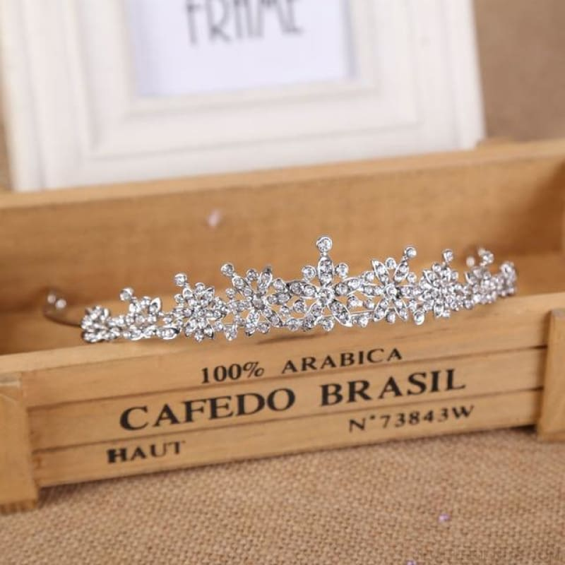 3 Designs Crystal Bridal/prom Tiara Crown - Style 1 Rhodium - Custom Made | Free Shipping
