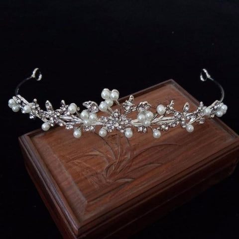 Image of 3 Designs Crystal Bridal/prom Tiara Crown - Style 2 Pearl Tiara - Custom Made | Free Shipping