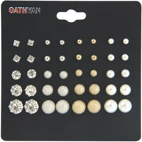 30Pairs/lot Ball Alloy Crystal Pearl Stud Earrings Sets - E0023-1 20 Pairs - Custom Made | Free Shipping
