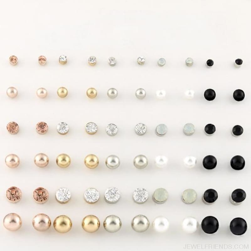 30Pairs/lot Ball Alloy Crystal Pearl Stud Earrings Sets - E0219-1 30 Pairs - Custom Made | Free Shipping