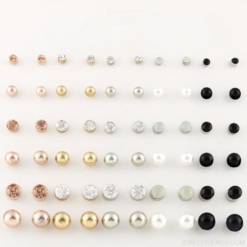 Image of 30Pairs/lot Ball Alloy Crystal Pearl Stud Earrings Sets - E0219-1 30 Pairs - Custom Made | Free Shipping