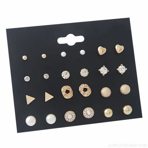 30Pairs/lot Ball Alloy Crystal Pearl Stud Earrings Sets - E0284-1 12 Pairs - Custom Made | Free Shipping