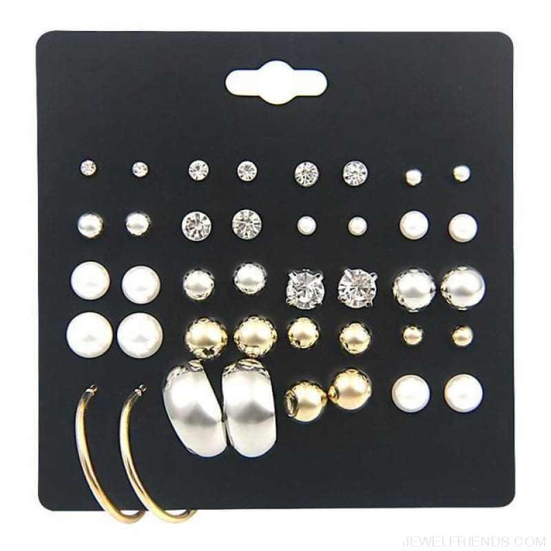 30Pairs/lot Ball Alloy Crystal Pearl Stud Earrings Sets - E0298-1 20 Pairs - Custom Made | Free Shipping