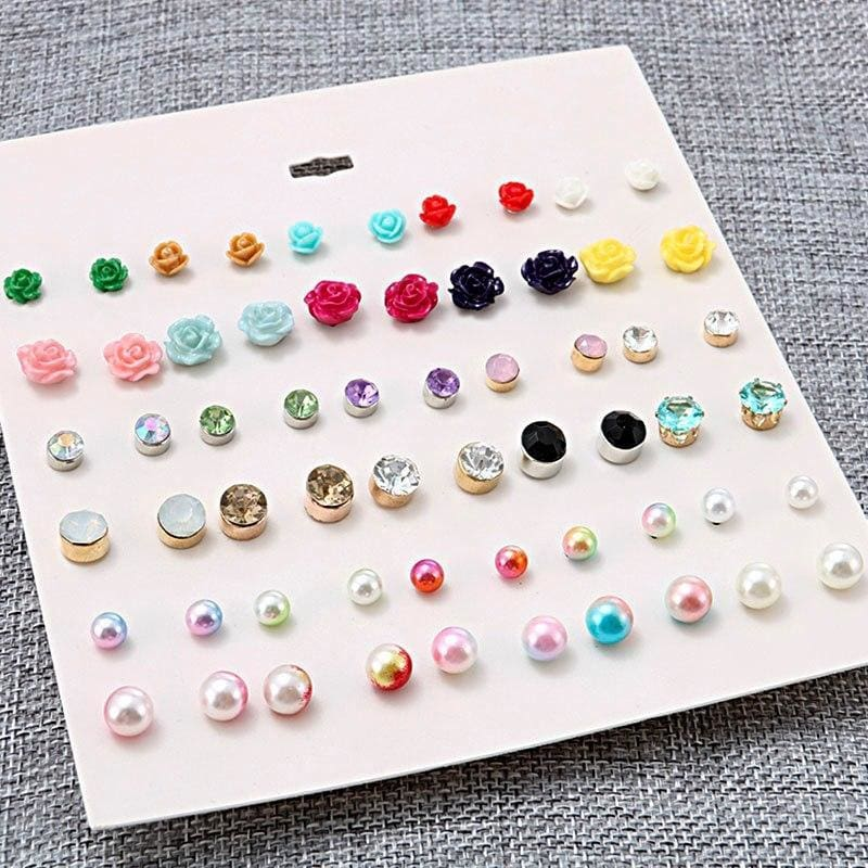 30Pairs/lot Ball Alloy Crystal Pearl Stud Earrings Sets - Custom Made | Free Shipping