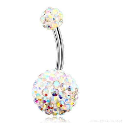 316L Surgical Steel Double Epoxy Crystal Balls Navel Piercing - Crystal Ab - Custom Made | Free Shipping
