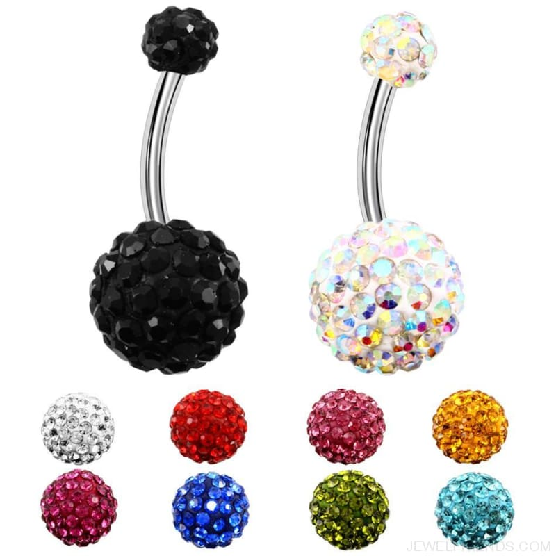 316L Surgical Steel Double Epoxy Crystal Balls Navel Piercing - Custom Made | Free Shipping