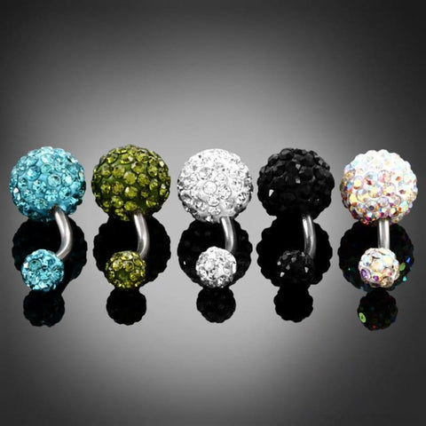 Image of 316L Surgical Steel Double Epoxy Crystal Balls Navel Piercing - Custom Made | Free Shipping