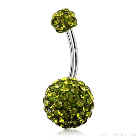 Image of 316L Surgical Steel Double Epoxy Crystal Balls Navel Piercing - Peridot - Custom Made | Free Shipping