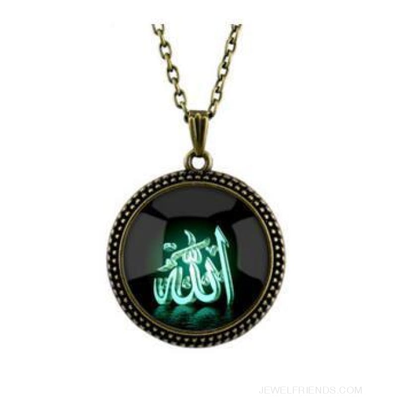 4 Color Glass Islamic Allah Arab Pendant Necklace - Bronze Green - Custom Made | Free Shipping