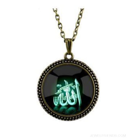 Image of 4 Color Glass Islamic Allah Arab Pendant Necklace - Bronze Green - Custom Made | Free Shipping