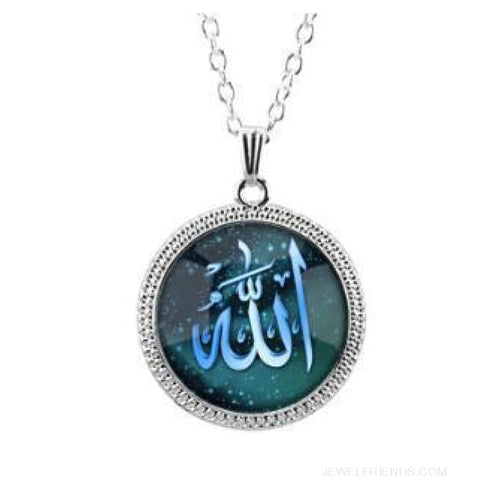 Image of 4 Color Glass Islamic Allah Arab Pendant Necklace - Silver Green - Custom Made | Free Shipping