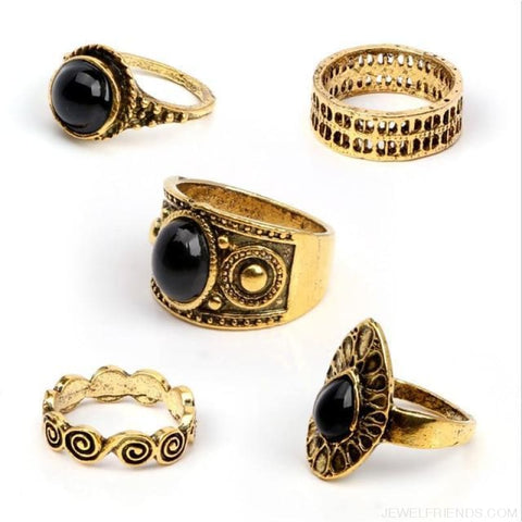 5 Pcs/ Set Classic Black Crystal Round Water Drop Ring Set - Gold - Custom Made | Free Shipping