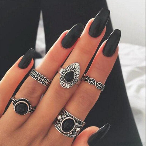 5 Pcs/ Set Classic Black Crystal Round Water Drop Ring Set - Custom Made | Free Shipping