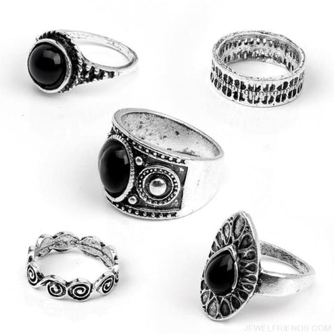5 Pcs/ Set Classic Black Crystal Round Water Drop Ring Set - Silver - Custom Made | Free Shipping