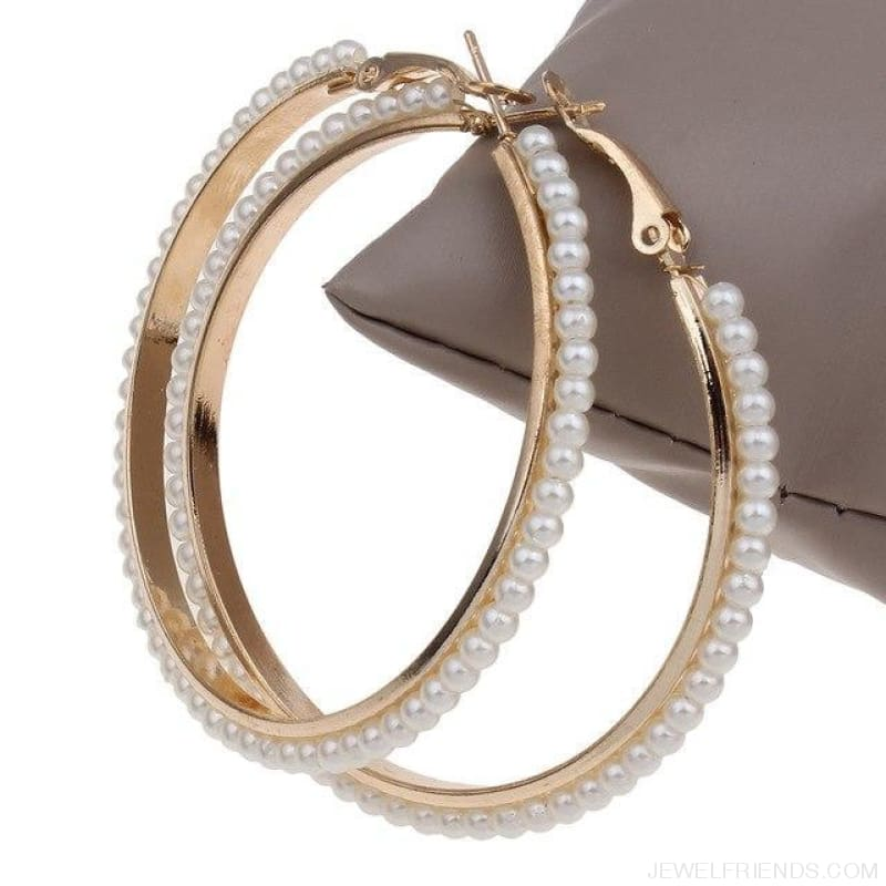 55Mm Round Pearl Beaded Hoop Earrings - Gold Color - Custom Made | Free Shipping