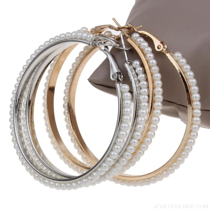 55Mm Round Pearl Beaded Hoop Earrings - Custom Made | Free Shipping