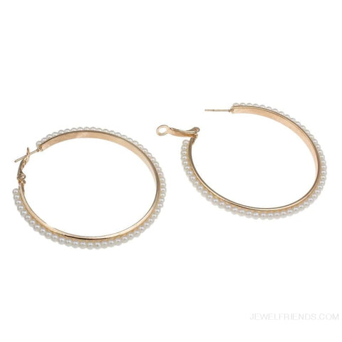 Image of 55Mm Round Pearl Beaded Hoop Earrings - Custom Made | Free Shipping
