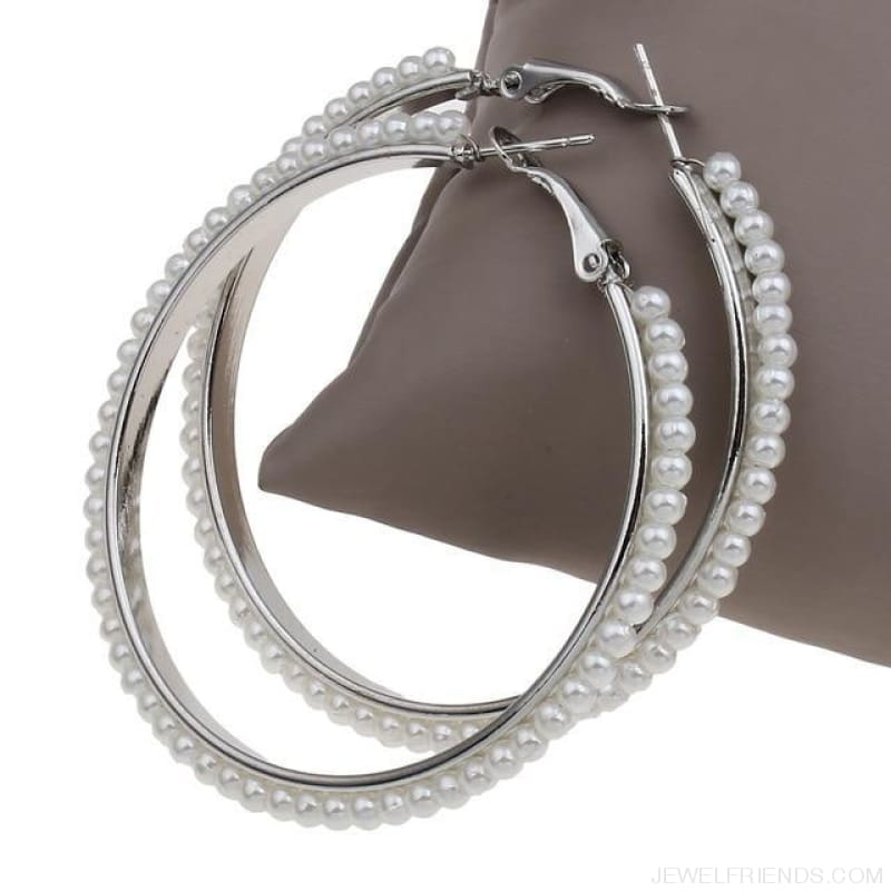 55Mm Round Pearl Beaded Hoop Earrings - Platinum Color - Custom Made | Free Shipping