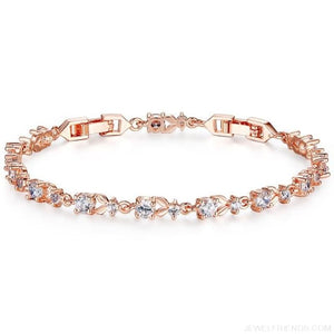 6 Colors Luxury Rose Gold Color Chain Link Bracelet - Gold - Custom Made | Free Shipping