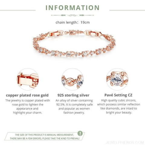 6 Colors Luxury Rose Gold Color Chain Link Bracelet - Custom Made | Free Shipping