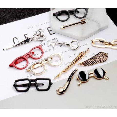 6 Styles Tie Clip Bullet Feather Glasses Anchor Mustache - Custom Made | Free Shipping