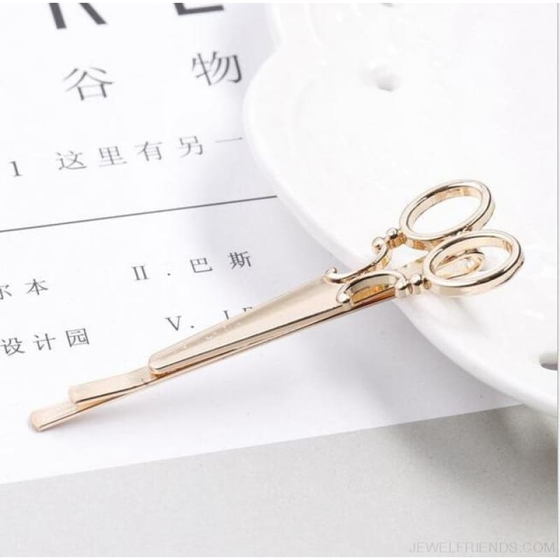 6 Styles Tie Clip Bullet Feather Glasses Anchor Mustache - Scissors Gold - Custom Made | Free Shipping