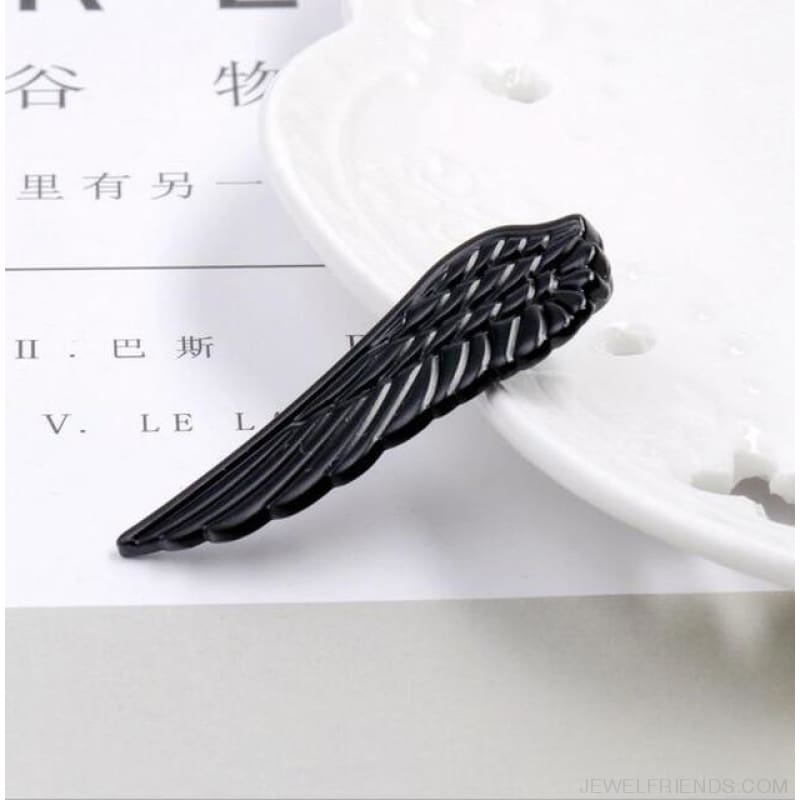 6 Styles Tie Clip Bullet Feather Glasses Anchor Mustache - Wing Black - Custom Made | Free Shipping