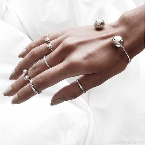6Pcs/set Ball Cuff Bracelet & Rings Set - Custom Made | Free Shipping