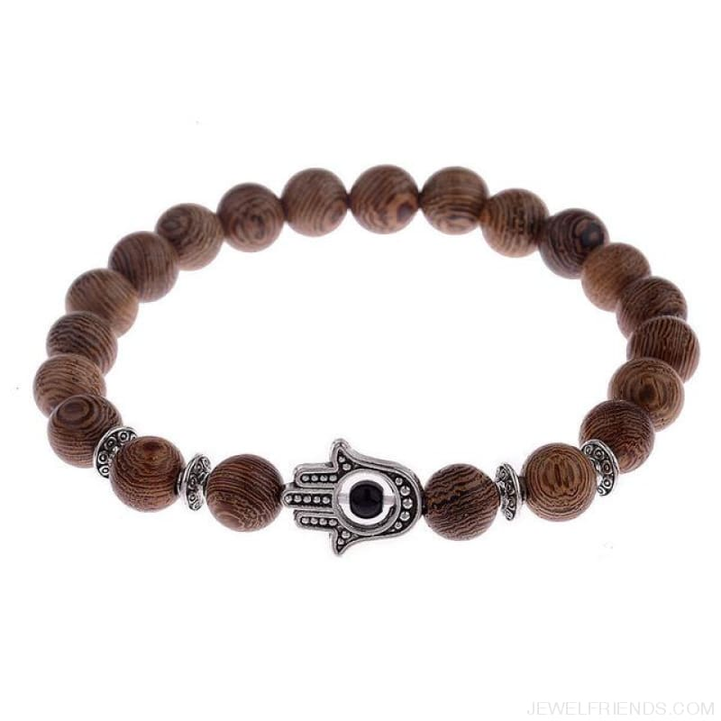 8Mm Natural Wood Beads Bracelets - 001-3 - Custom Made | Free Shipping