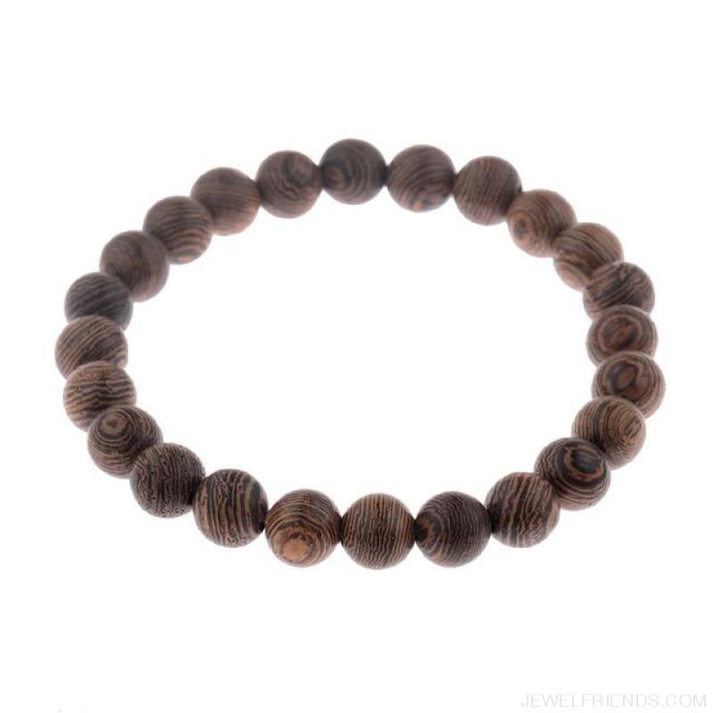 8Mm Natural Wood Beads Bracelets - 001-5 - Custom Made | Free Shipping