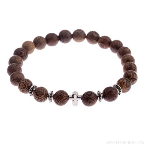 Image of 8Mm Natural Wood Beads Bracelets - 003-3 - Custom Made | Free Shipping