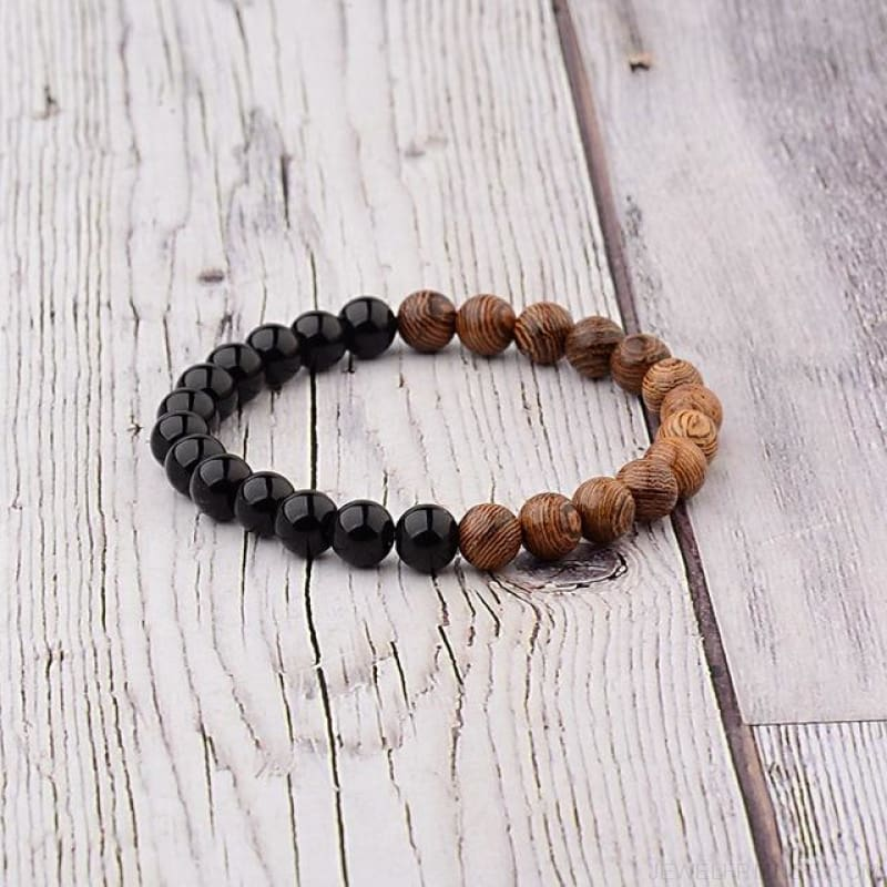 8Mm Natural Wood Beads Bracelets - 005-A2 - Custom Made | Free Shipping