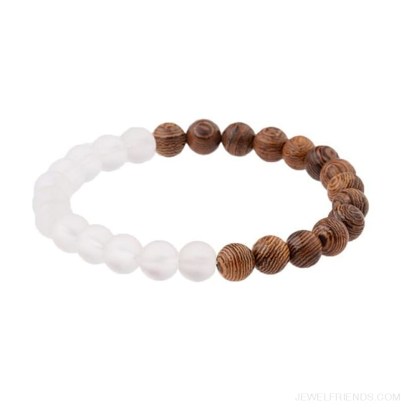 8Mm Natural Wood Beads Bracelets - 005-B1 - Custom Made | Free Shipping