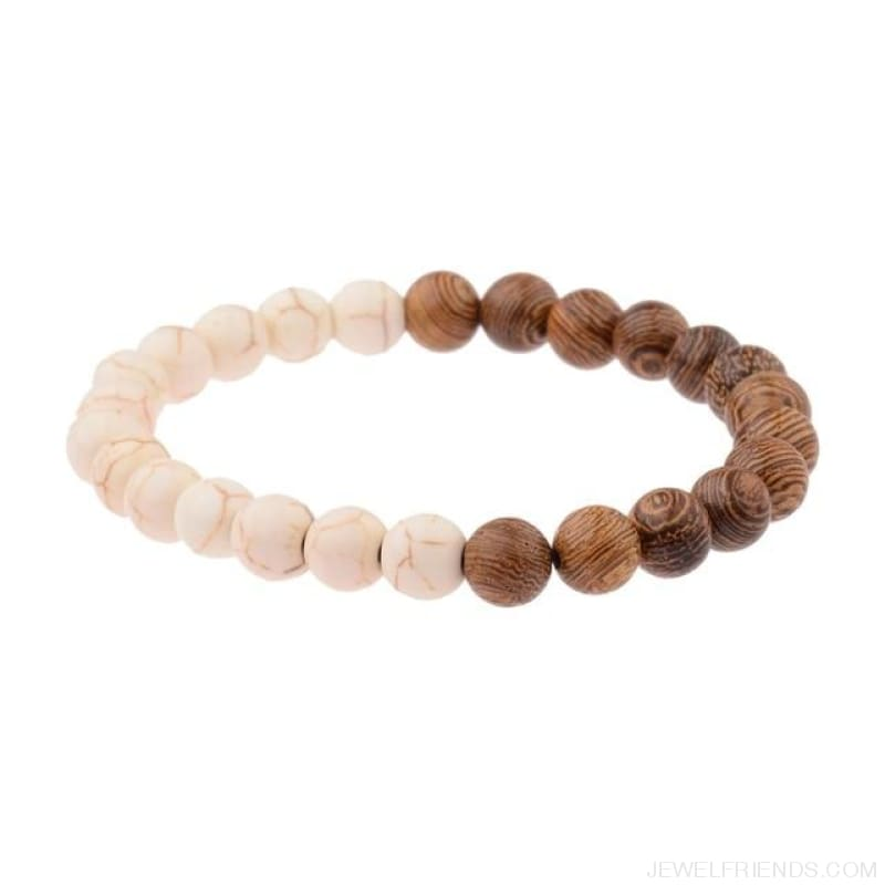 8Mm Natural Wood Beads Bracelets - 005-C1 - Custom Made | Free Shipping